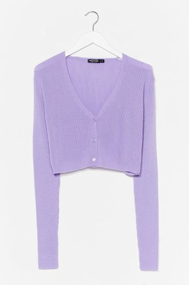 Nasty Gal Womens What's Knit to Love Cropped Button-Down Cardigan - Lilac