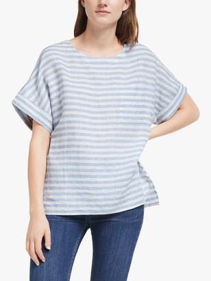 John Lewis & Partners Stripe Linen Shell Top, White/Pale Blue
