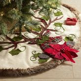 Pier 1 Imports Plaid Deer & Faux Fur Embroidered Tree Skirt