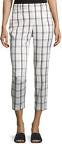 Theory Treeca Two-Mix Checked Cropped Pants, White/Blue