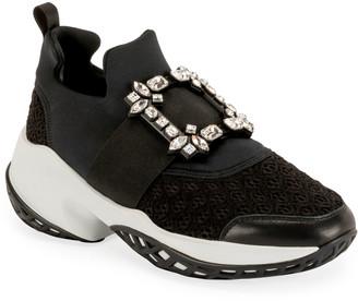 Roger Vivier Viv' Run Stretch Crystal Buckle Sneakers