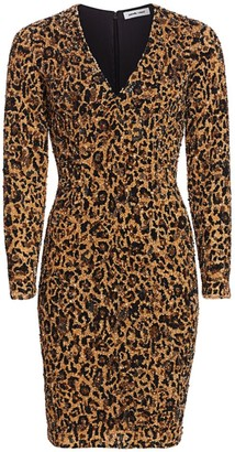 Pamella Roland Leopard Sequin Cocktail Dress