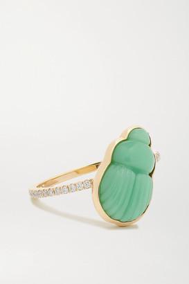 Lito Small Daria 14-karat Gold, Chrysoprase And Diamond Ring - 6