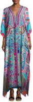 Camilla Embellished Long Lace-Up Silk Caftan Coverup, Turquoise/Pink
