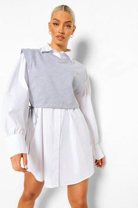 boohoo Cropped Sweatshirt And Oversized Shirt Dress