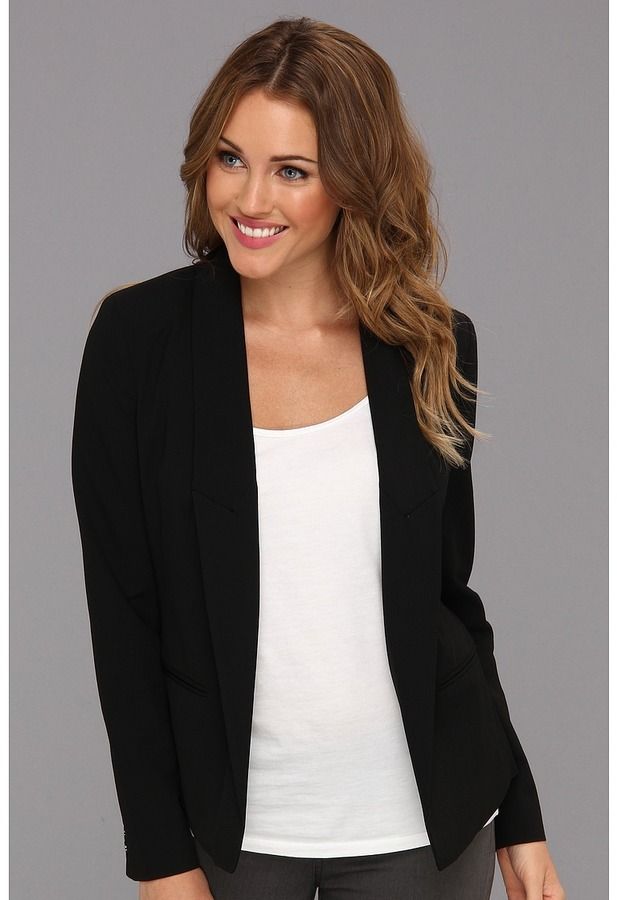 MICHAEL Michael Kors Petite Crop Low Peak Lapel Blazer (Black) - Apparel