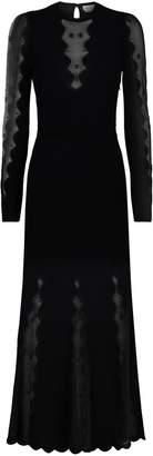 Alexander McQueen Ribbed Sheer-Sleeved Dress