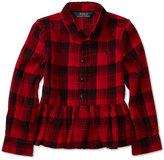 Ralph Lauren Plaid Peplum Gauze Shirt, Toddler & Little Girls (2T-6X)