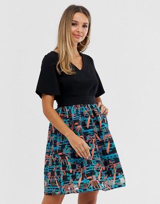 Closet London Closet v neck sheer skirt dress