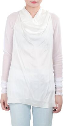 Vera Wang Collection Cream Silk Satin Cowl Neck Mesh Sleeve Blouse XS
