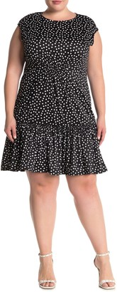 Tash + Sophie Ditsy Print Flounce Hem Dress (Plus Size)