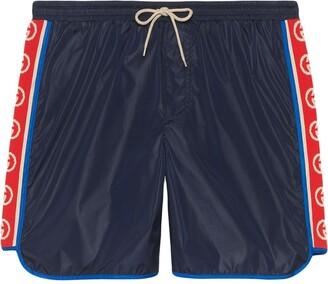 Gucci Nylon swim shorts with logo stripe