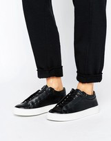K-Swiss Premium Leather Novo Demi Sneakers In Black