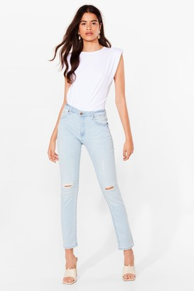 Nasty Gal Womens Knee Don't Care Ripped Skinny Jeans - Blue - 8