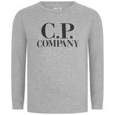 C.P. Company C.P. CompanyBoys Grey Logo Print Jersey Top