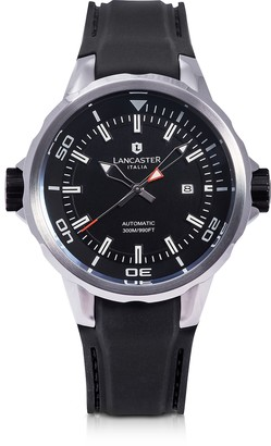 Lancaster Space Shuttle Automatic Stainless Steel and Black Silicon Men's Watch