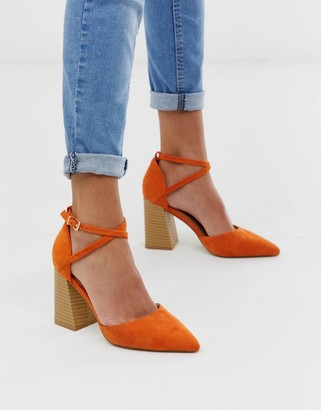 Raid RAID Aubrey orange stacked heeled shoes