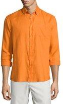 Vilebrequin Caroubier Linen Long-Sleeve Shirt, Orange