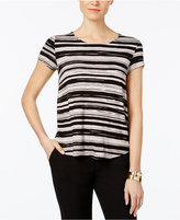 Alfani Petite Striped Shirttail Top, Only at Macy's
