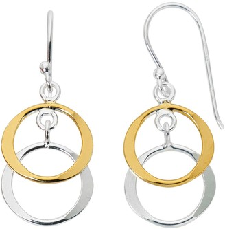 Primavera 24k Gold Over Sterling Silver Double Ring Drop Earrings