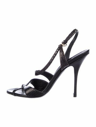 Gucci Lizard Animal Print Slingback Sandals Black