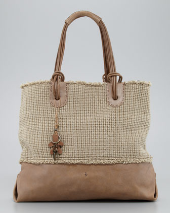 Henry Beguelin Drop Handle Linen and Leather Tote