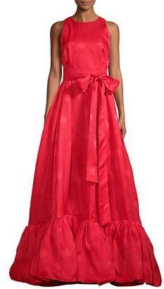 Carolina Herrera Tonal Dot Ruffle Gown