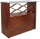Lumisource Wave Walnut Wood 42.5-inch Height Home Bar