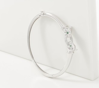 Diamonique TOVA Pave Panther Bangle Bracelet Sterling Silver