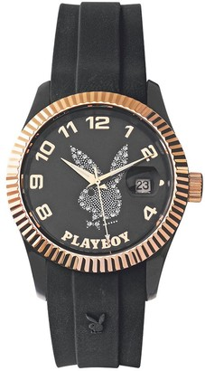 Playboy EVEN38GPB-Evening Unisex Watch Analogue Quartz Black Dial Black Silicone Strap