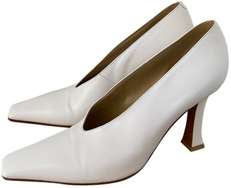 Celine Soft V Neck White Leather Heels