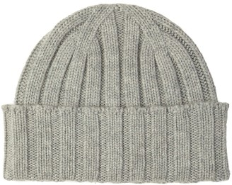 Johnstons of Elgin Chunky Rib Cashmere Hat Silver