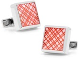 Ravi Ratan Sterling Pink Etched Plaid Mother Of Pearl Cufflinks.