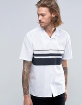 Asos Shirt In White With Placement Stripe And Revere Collar In Regular Fit
