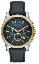 Armani Exchange Outer Banks Stainless Steel Chronograph Leather-Strap Watch