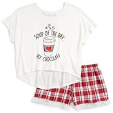 Girl's Tru Luv Soup Of The Day Fitted Two-Piece Pajamas