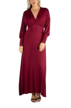 24seven Comfort Apparel Women's Formal Long Sleeve Maxi Dress