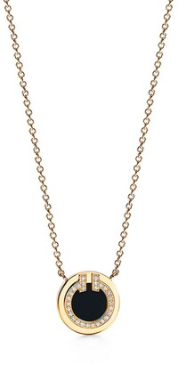 Tiffany & Co. T diamond and black onyx circle pendant in 18k gold, small
