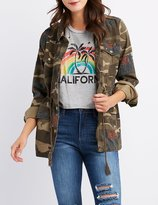 Charlotte Russe Floral & Camo Print Anorak Jacket