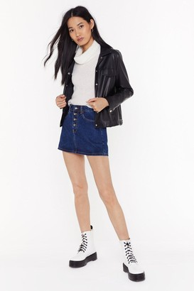 Nasty Gal Womens Should've Shred No Denim Mini Skirt - Dark Blue