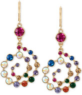 Betsey Johnson Gold-Tone Multi-Crystal Spiral Drop Earrings