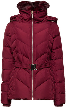 MICHAEL Michael Kors Faux Fur-trimmed Belted Quilted Shell Down Jacket