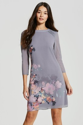 Little Mistress Grey Floral Print Shift Dress