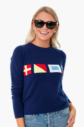Two Bees Cashmere Navy Nautical Flag Intarsia Sweater