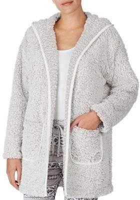 Kensie Faux Fur Open-Front Hooded Cardigan