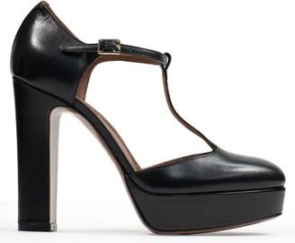 L'Autre Chose Dorsey T-Bar Black Leather Platform Shoes
