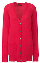 Lands' End Women's Petite Merino V-neck Cardigan Sweater-Crimson Dawn
