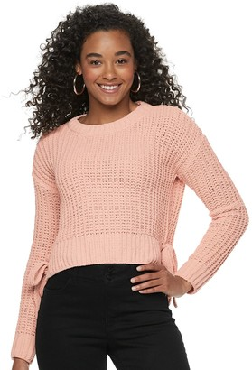 Candies Juniors' Candie's Solid Long Sleeve Hi-Lo Pullover Sweater