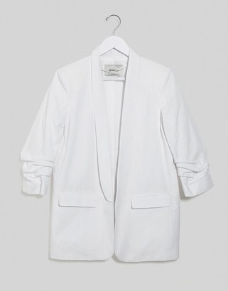 Stradivarius ruched sleeve blazer with embroidery in white