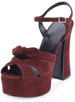 Saint Laurent Candy Suede Platform Sandal, Amaranto